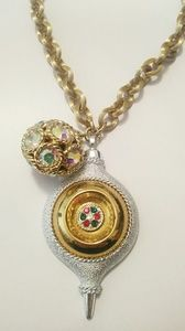 Vintage christmas ornament rhinestone necklace